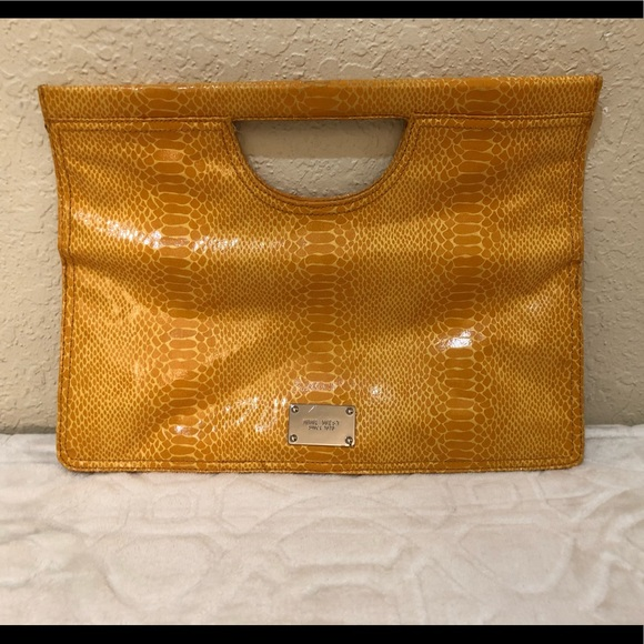 Nine West Handbags - Nine West Yellow Fold Over Clutch